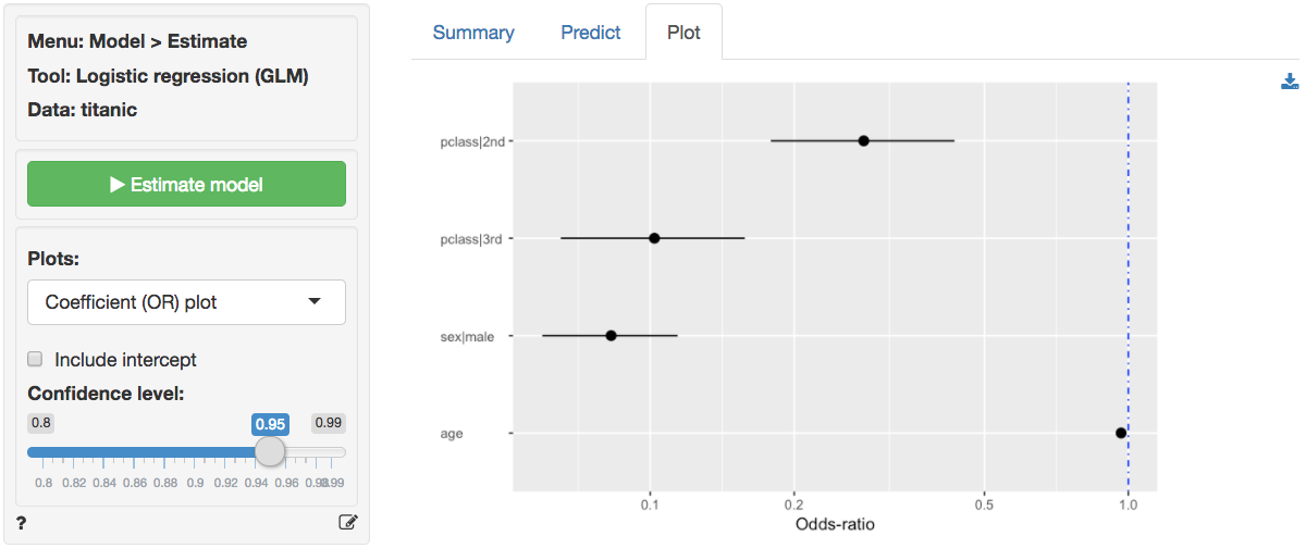 Model > Estimate > Logistic regression (GLM)